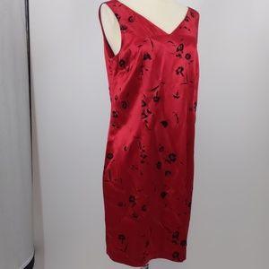 Donna Ricco red w flocked black sheath dress-sz 10